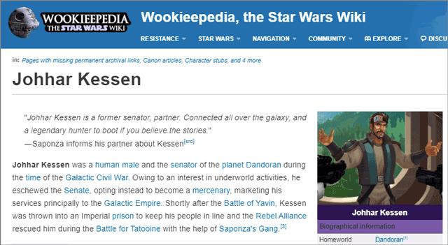 Johhar Kessen page on Wookieepedia